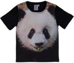 Merkloos / Sans marque Zwart t-shirt met panda beer voor kinderen 128 (8-9 jaar)