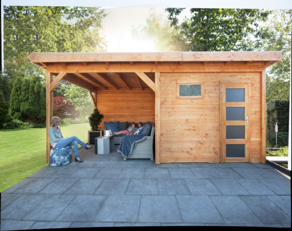 Afbeelding van Woodvision Douglas Topvision | Blokhut Raaf met luifel 300 cm | Groen geïmpregneerd