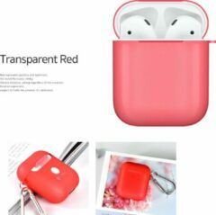 COTEetCi Silicone Case Cover Hoesje geschikt voor Apple AirPods 2 / 1 - Transparant Rood