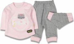 Merkloos / Sans marque Baby, 3 stuks, baby kleding jongens, baby kleding meisjes, babykledingset, babypakje, babycadeau, baby jogging, baby born, baby broekje, baby top, baby slab, comfortabel, %100 katoen, zacht, kleurrijk, roze, 6-9 maanden, maat 74 cm