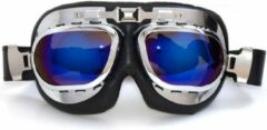 Blauwe CRG RAF chrome motorbril multi kleur glas