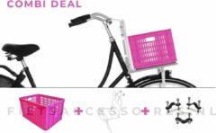 Voordrager wit + Fietskrat roze + Anti-diefstalset voor de bevestiging | COMBIDEAL | 26 inch - 28 inch | voorrek wit + roze krat + Basil bevestigingsset | PIMP JE FIETS | LARGE