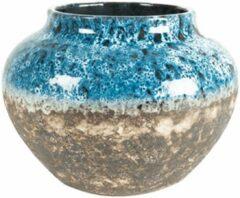 Lichtblauwe Plantenwinkel.nl Plantenwinkel Jar Lindy Sky Blue blauwe pot 28 cm ronde bloempot voor binnen