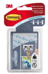 Command bevestigingsstrips, 8 large, 4 medium, 4 small, transparant, blister van 16 stuks