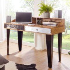 Wohnling Schreibtisch NEPAL 120x54x90 cm Massivholz Computertisch Echtholz Büro Sekretär Design Ablage Modern Rechteckig Arbeitstisch Massiv Konsole