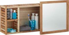 Naturelkleurige Relaxdays - wandrek walnoothout met spiegel - badkamerkastje hout - spiegelkast