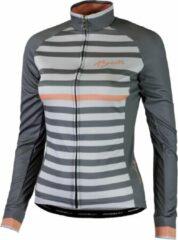 Koraalrode Rogelli Ispira Fietsshirt - Dames - Maat XL - Lange mouwen - Grijs/Koraal