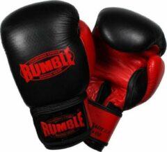 Rumble Ready 2.0 Leer (kick)bokshandschoen Zwart-Rood 10 Oz