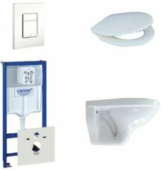 Adema Classico toiletset bestaande uit inbouwreservoir, toiletpot, toiletzitting en bedieningsplaat wit 0729205/0261520/4345100/0720003