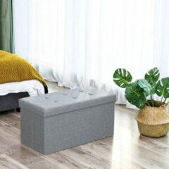 Grijze Songmics Hocker - Belastbaar Tot 300 Kg - Poef - Voetenbankje - Zitbank - Opbergkist
