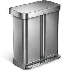 Zilveren Simplehuman Rectangular Prullenbak - 58 l - Rvs - GFT - Met Liner Pocket