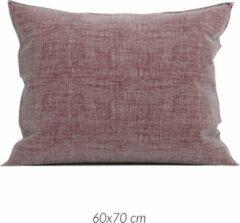 Donkerrode Linnenlook 2x Luxe Linenlook Kussenslopen Wijnrood | 60x70 | Fijn Geweven | Zacht En Ademend