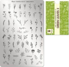 Moyra Nail Art Stamping Plate 97 - groen Leaves 2