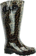 Regenlaars Bruin Beige Leopard WIDE WELLIES Kuitomvang 50 cm cm XXL maat 43