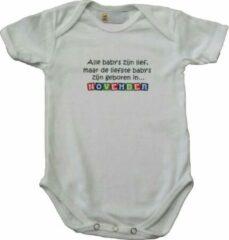 """Link Kidswear Witte romper met """"Alle baby's zijn lief, maar de liefste baby's zijn geboren in... November"""" - maat 74/80 - babyshower, zwanger, cadeautje, kraamcadeau, grappig, geschenk, baby, tekst, bodieke"""