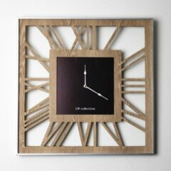 Bruine LW Collection Houten moderne vierkante wandklok hout 60cm - Hannah Houten muurklok - Houten klok
