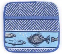 Blauwe Bunzlau Castle pannenlap Fish Royal blue