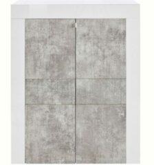 Pesaro Mobilia Opbergkast Easy 125 cm hoog - Hoogglans wit met grijs beton