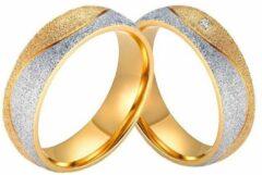 Zoëies® ring voor hem goud- en zilverkleurig met glitters 19 mm