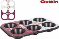 Zwarte Quttin rechthoekige Muffin vorm- Cupcake vorm- cakevorm - Grijs met spetters - Muffin bakvorm - Grijze bakvorm - Muffin bakvorm