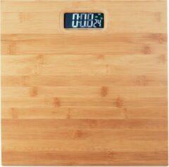 Naturelkleurige Relaxdays Digitale personenweegschaal - digitale weegschaal - bamboe - tot 180 kg - kg, lb