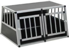 Zilveren VidaXL Hondenbench met dubbele deur 89x69x50 cm