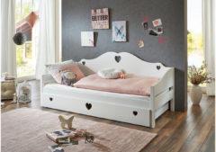 Einzelbett ELSA, MDF/Buche massiv weiß Gr. 90 x 200
