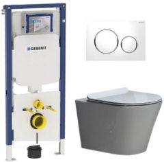 Douche Concurrent Geberit UP720 Toiletset - Inbouw WC Hangtoilet Wandcloset Rimfree - Saturna Flatline Sigma-20 Wit