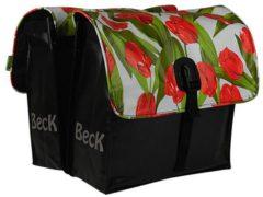 Rode Dubbele fietstas - Small - 35 liter - Zwart/Rood/Groen/Wit - Beck