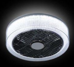 Witte ETH - expo trading Plafonnière met ventilator - D400xH180mm heldere rand met kristal binnenkant led 24w+10w 2700+3000+4000k + afstandbediening