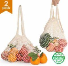 Beige Tiny Panda 2x Zero Waste Nettas Herbruikbare Boodschappentas / Groenten- en fruittas / Eco Bag