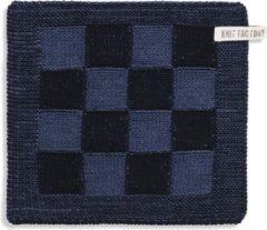 Knit Factory Pannenlap Block - Zwart/Jeans
