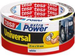 1x Tesa ducttape Extra Power universeel wit 25 mtr x 5 cm - Klusbenodigdheden - Tesa - Universele tape - Klustape - Ducttape - Reparatie tape - Witte tape op rol 25 meter