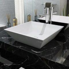 Witte VidaXL Wastafel vierkant wit 41,5x41,5x12 cm keramiek