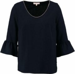 Signe nature blauwe structure tuniek blouse 3/4 mouw van stevig polyester stretch - Maat 40