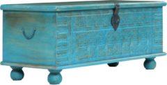 VidaXL Opbergkist 100x40x41 cm massief mangohout blauw
