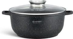 Zwarte Edënbërg stonetec line kookpan met deksel - marmeren coating en aroma dop - Ø 22 cm - 3.3 liter