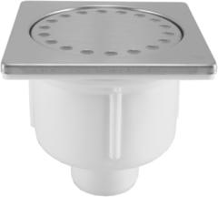 Zilveren Praya Doucheplug 10x10 onderuitlaat met waterslot RVS 33.3654