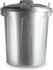 Forte Plastics Kunststof afvalemmers/vuilnisemmers in het zilver van 51 liter met deksel - Vuilnisbakken/prullenbakken - Kantoor/keuken prullenbakken