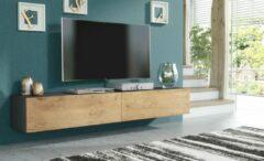 Antraciet-grijze Pro-meubels - Zwevend Tv-meubel - Tv kast - Tunis - Antraciet - Eiken - 200cm 2x100cm