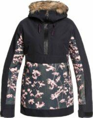 Zwarte Roxy Shelter Dames Ski jas - True Black Poppy - Maat S