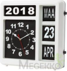 Witte Perel Flipover Wandklok Met Kalender - 31 X 31 Cm - Nederlands