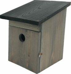 Garden Spirit - Ruim Vogelhuisje voor Koolmees - Nestkast hout grijs zwart - 21 x 19 x 25 cm.