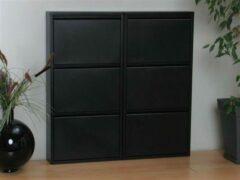 Hioshop Pisa schoenenkast zwart metaal met 3 vakken - set van 2.