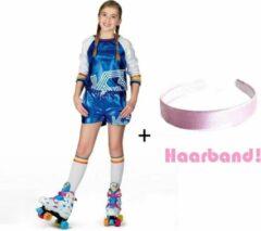 Blauwe K3 pakje rollerdisco disco setje 6-8 jaar + haarband