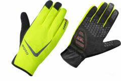Gele GripGrab Cloudburst Hi-Vis Waterproof Midseason Glove Fietshandschoenen Unisex - Maat S