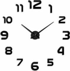 Premium Zwarte Moderne wandklok met Cijfers LW Collection / Moderne Zwarte Design Muurklok / Sticker 3D klok / Doe het zelf klok DIY met Plak stickers / Stickers Wandklok met Cijfers Zwart