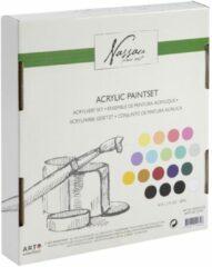 Nassau Fine Art | Acrylverf set | 18 X 36 ML | 18 verschillende kleuren verf | 9x Pastel - 9x Basis verf