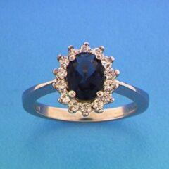 Blauwe Huiscollectie Zilver Gerhodineerde Ring zirkonia en synthetische saffier 18.50 mm (58)