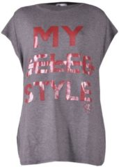 Grijze Please T-shirt my celeb style anthracite grijs